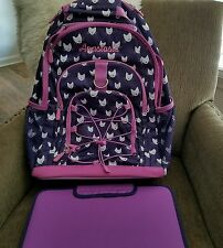 NWT Pottery Barn Kids Mackenzie LARGE Backpack & Water Bottle Navy Blue Horse