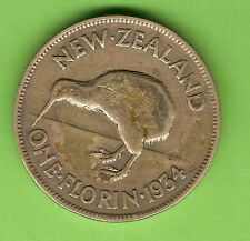 1934  NEW ZEALAND SILVER FLORIN TWO SHILLING  COIN