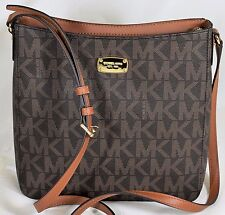 NEW MICHAEL KORS BROWN MK SIGNATURE CROSSBODY MESSENGER BAG PURSE