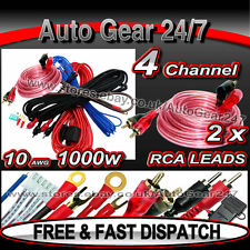 1000w 10 AWG Gauge 2,4 Channel Car Van Amp Sub Box Amplifier Complete Wiring Kit