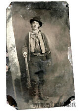 WILLIAM BONNEY (BILLY THE KID) Sepia color print from Tin Type Photograph.