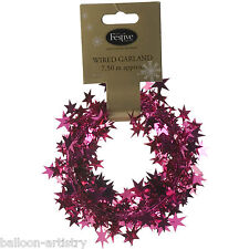 7.5m Christmas Party HOT PINK Sparkle Stars Foil Wire Garland Decoration