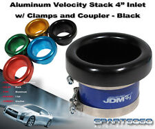 """4"""" BLACK ALUMINUM INLET AIR VELOCITY STACK SUPERCHARGER/TURBO T3/T4 T04B T70"""
