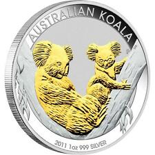2011 Australian Koala Gold Gilded Coin, 1oz Silver Proof, Perth Mint