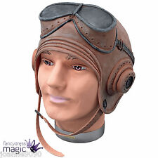 Brown Biggles Fighter Pilot Helmet Fancy Dress Costume Rubber Hat and Goggles