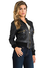 NEW Doma Leather Zip Up Bomber Moto Jacket Black Biker Womens Coat *L (M- S?
