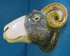 QUAIL CERAMIC SWALEDALE SHEEP RAM'S HEAD WALL POCKET OR VASE