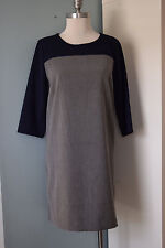 Gap 10 12 Gray Navy Blue Colorblock Shift Dress Excellent Career 3/4 sleeve