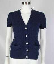 Ralph Lauren Womens Medium Navy Blue Cotton V-Neck Cable Knit Cardigan Sweater