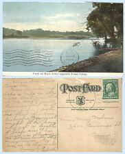 View on Rock River opposite Fones Camp Illinois dated 1909 Postcard