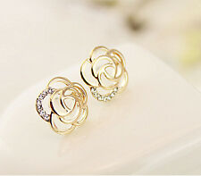 Charm Women's Lady Vintage Gold Rose Flower Rhinestone Ear Stud Elegant Earrings
