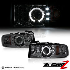 1994-2001 Dodge RAM 1500 2500 3500 Smoke Halo Angel EYE LED Projector Headlights