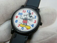 """MICKEY MOUSE,""""RARE! Lorus Molded Hands DIAL""""Black Leather Band,MENS WATCH,1235"""