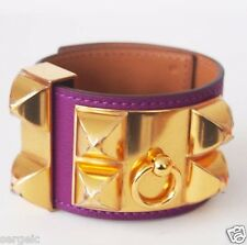 New Authentic HERMES CDC Collier de Chien Anemone Purple GHW Gold hardware