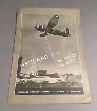 WESTLAND AIRCRAFT EYES OF THE ARMY MANUFACTURERS SALES BROCHURE
