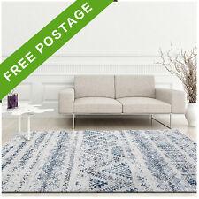 Large Floor Rug Blue White Chevron Super Soft Modern Designer Carpet 190x280cm