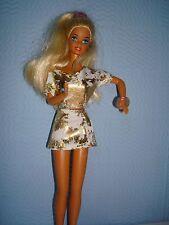 Hecho A Mano Oro Metálico Falda y Top/Moda Muñeca Barbie ajuste.