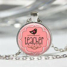 Vintage teacher Cabochon Silver plated Glass Chain 25mm Pendant Necklace