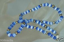 STERLING SILVER & GENUINE STONE BABY BLUE MOONSTONE BEAD NECKLACE