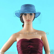 Blue Women Sinamay Bowler Cloche Kentucky Derby Church Hat Wide Brim Formal Cap
