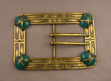 Antique Apollo Studios New York Arts & Crafts Large Belt Buckle Green Cabochons