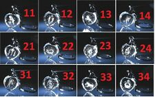 Laser etched 3D glass gift signs of Zodiac European key chain Birthday Gift NEW!