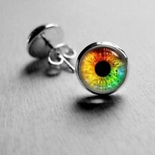 14mm Rainbow Tone Eye Pupil Stud Earrings Surgical Stainless Steel Post