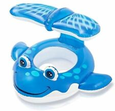 Intex Whale Baby Float Pool Blue/White Inflatable Raft Seat Sunshade Fun Toy NEW