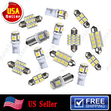 15 PCS Pure White LED Interior Package Combo Kit T10 & 31mm 42mm Festoon Lights