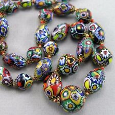 VTG Art Deco Moretti Venetian Murano Millefiori Glass Beads Necklace, Restrung
