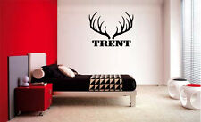 NAME & ANTLERS HUNTING HUNT DEER ELK CAMO DECAL WALL VINYL DECOR STICKER ROOM