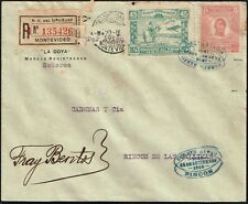 1485 URUGUAY FFC FIRST FLIGHT REGISTERED AIR MAIL COVER 1925 MONTEVIDEO - RINCON