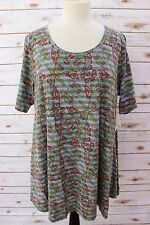 XL - LuLaRoe Perfect T Two Tone Gray Stripes Green Yellow Rust Red Paisley NWT