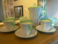 RARE  SHELLEY PYJAMA STRIPE PATTERN COFFEE SET IN REGENT SHAPE