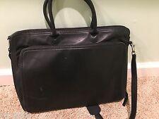 LEVENGER -  Leather BLack Messenger Bag / Tote / Briefcase / Laptop / Briefbag