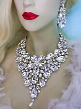 Large Breastshield Bib Necklace Rhinestone Crystal Earrings Drag Queen Clear