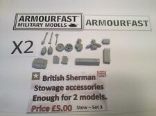 Early War 20mm (1/72) Armourfast British Sherman Stowage Set (2 Vehicles)