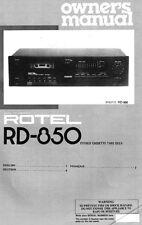 Rotel RD-850 Cassette Deck Owners Manual