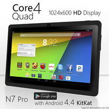 "7"" Quad Core Android 4.4 Tablet 8GB MID Wi-Fi Dual Camera Black Bluetooth NeuTab"