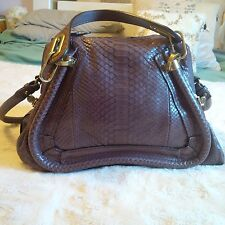 Brand New Chloe Paraty Medium in Python Leather with Taupe Color
