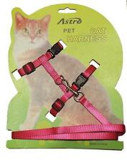 PINK Adjustable Nylon Pet Cat Harness and Leash ~ Kitten Belt Collar with lead