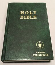 1985 Holy Bible Placed by Gideons King James Version Green Marbled