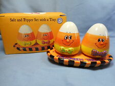 Halloween Candy Corn Trick or Treat Salt and Pepper Shaker Set
