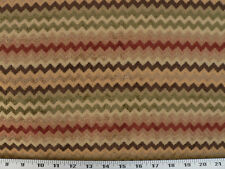 Drapery Upholstery Fabric Sm Scale Chenille Chevron Brown, Gold, Green, Burgundy