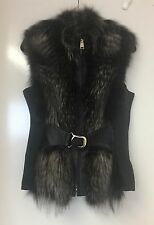 REAL Genuine Leather & Silver Fox Fur Coat Giubbotto GILLET Taglia L UK 14-16 RRP £ 380