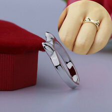 Women Girl Lady Lovely Fashion Cat Adjustable Silver Plated Ring Anel Gifts
