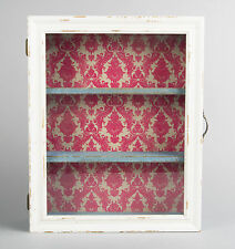 Shabby Chic Vintage Glass Wall Display Cabinet Shelf Unit Cream Blue Red Wooden