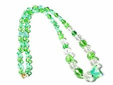 "28"" Vintage Czech necklace Uranium crackle green faceted AB twist glass beads"