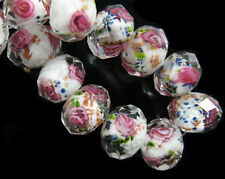 10ps White Glass Crystal Rose Flower Inside Lampwork Beads 12mm Spacer Findings