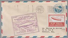 1934 USS Akron Airship zeppelin cover Coast flight Red Roessler Cinderella